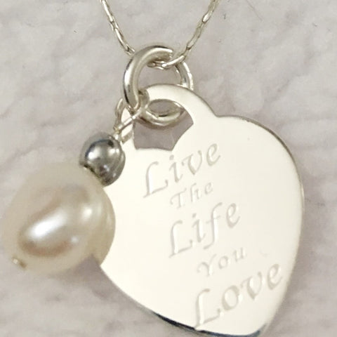 Live the Life You Love Heart Sterling Silver Pendant Motivational Necklace for Women