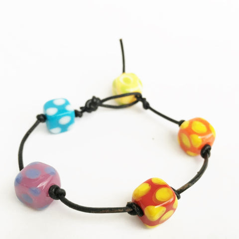 Colorful Polka Dot Leather Bracelet, Handmade Bracelet - DTailsULike