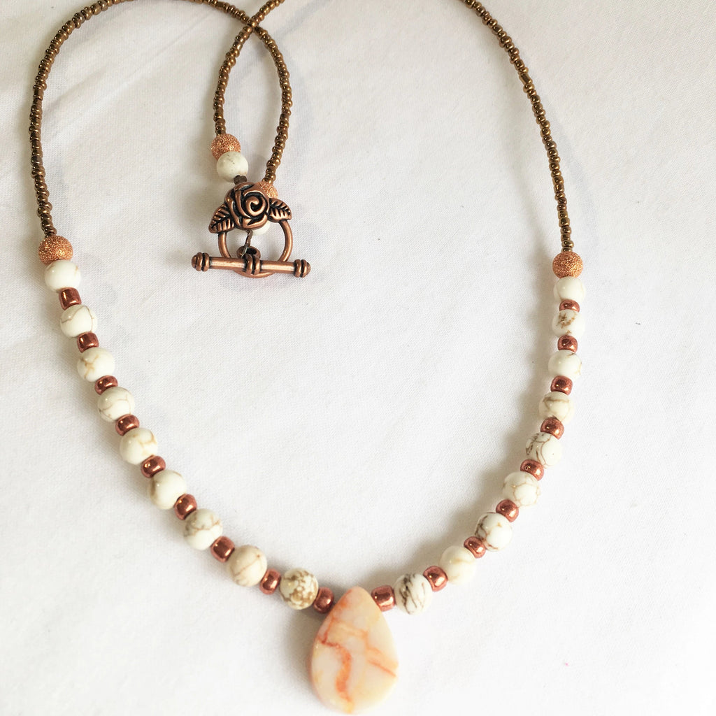 Beaded boho chic handmade necklace