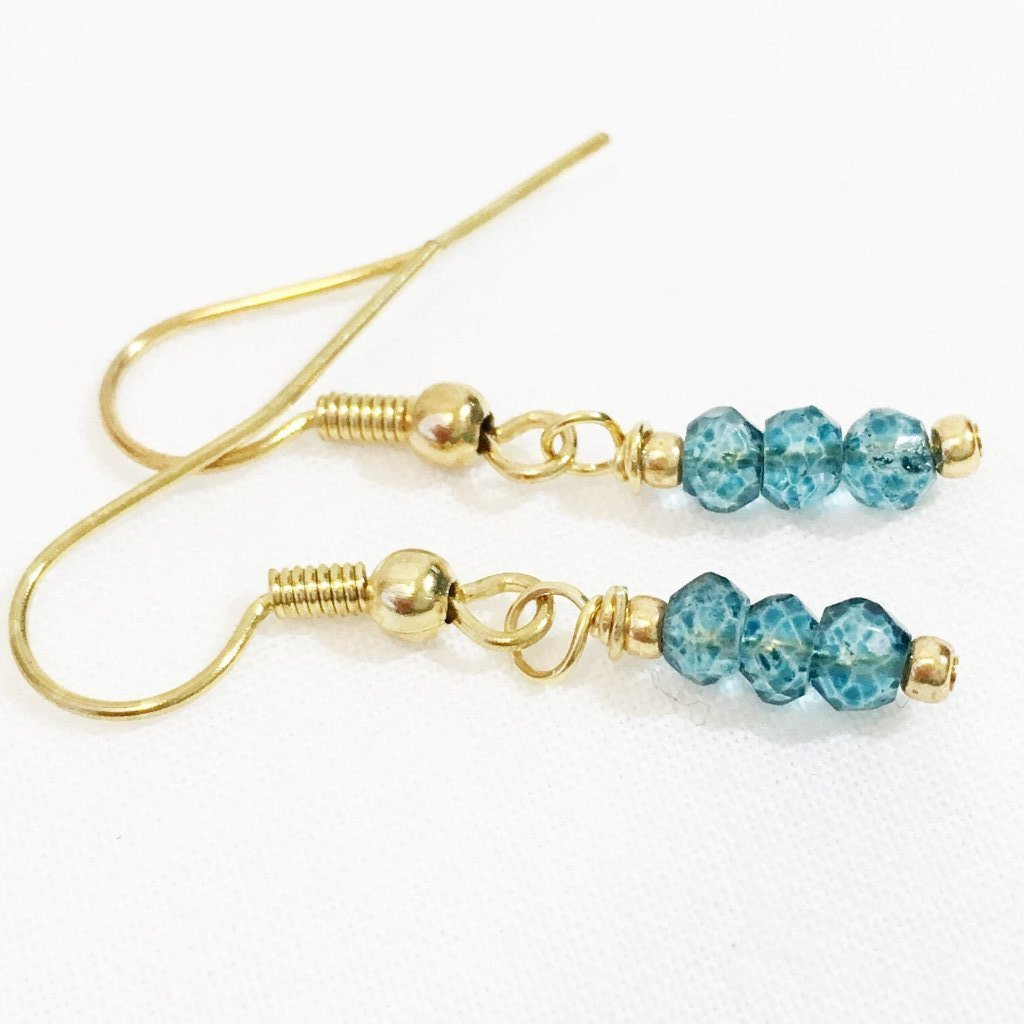 Dainty London Blue Topaz Earrings, Earrings - DTailsULike