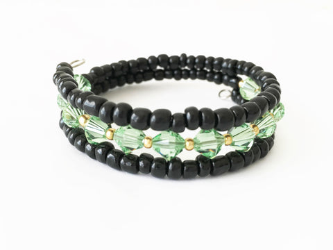 Green and Black Swarovski Crystal Memory Wire Bracelet, Handmade Bracelet - DTailsULike