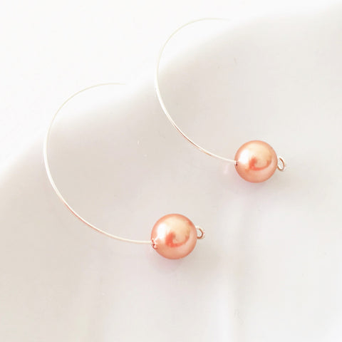 Rose Gold Filled  Swarovski Pearls Hoop Earrings
