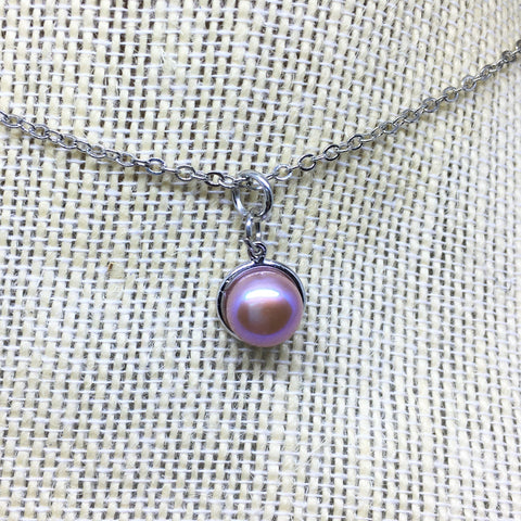 Purple pearl pendant necklace for woman