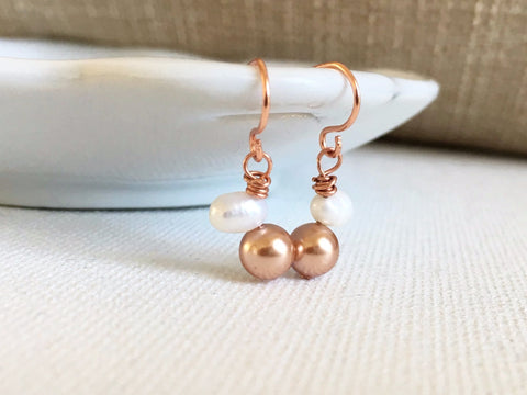 Pearls Love Dangle Earrings