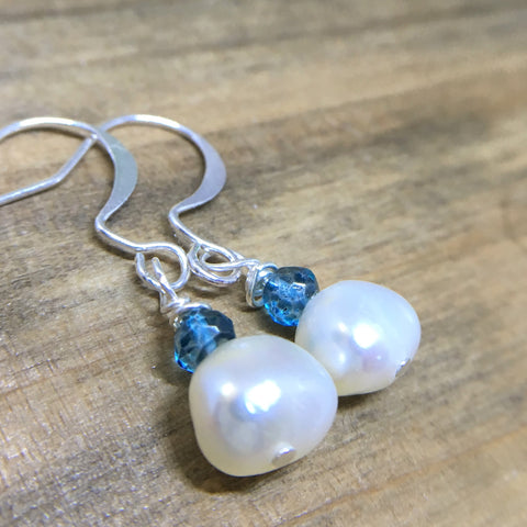 Freshwater Pearl Earrings Sterling Silver Dangles