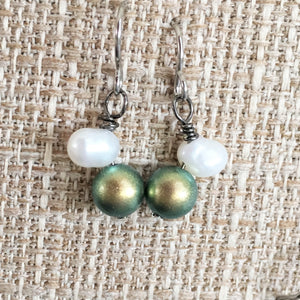 Simulated Tahitian Pearl Earrings