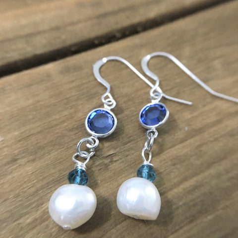 Blue and White Earrings for Women Wedding Jewelry