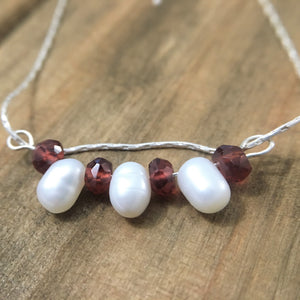 Red Garnet Dainty White Cultured Pearl Bar Pendant Necklace