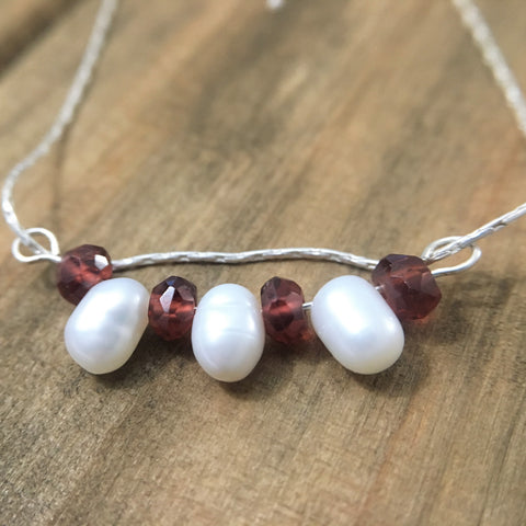 Red Garnet White Cultured Pearl Bar Pendant Necklace