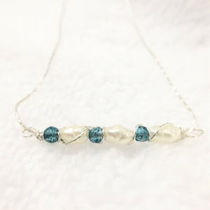 Delicate Pearl Bar Necklace