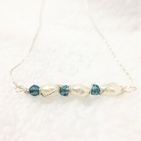 Blue and White Pearl Bar Necklace