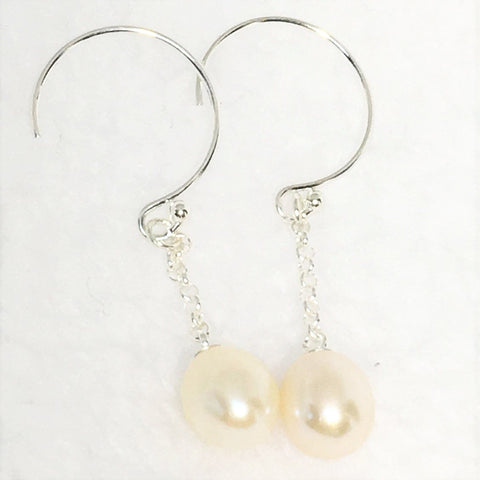 White Cultured Freshwater Pearl Earrings Long Sterling Silver Dangle Wedding Jewelry for Bride