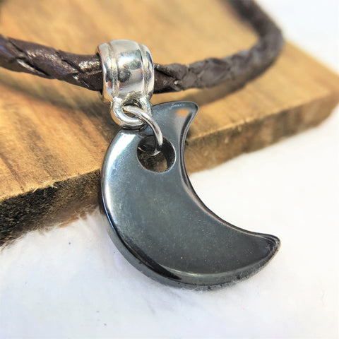 Moon Necklace For Men Stone Pendant Leather Choker