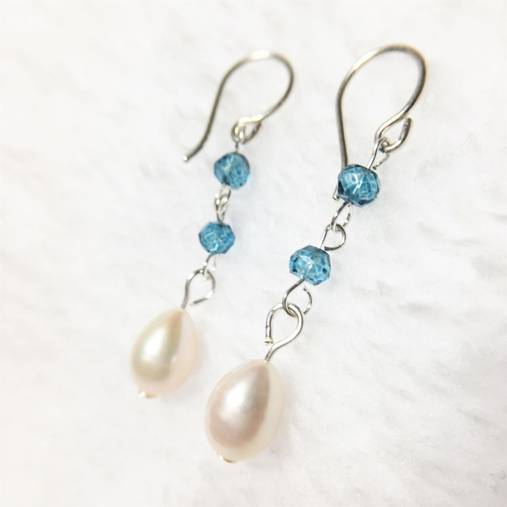 Precious Blue Quartz and Pearl Long Earrings