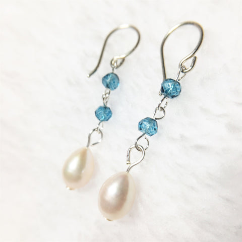 Blue Quartz  and Teardrop Pearl Long Earrings