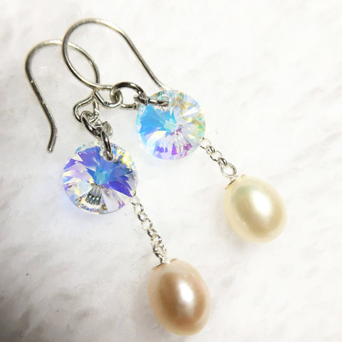 Aurora Borealis Crystal and Cultured Freshwater Teardrop Pearl Earrings for Bride