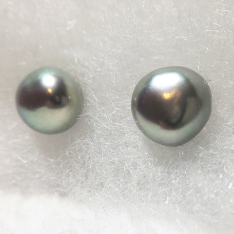 Gray Pearl Studs Cultured Freshwater Pearl Earrings