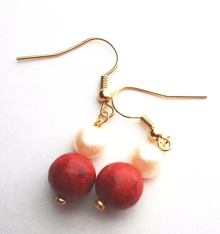 Red Cultured Freshwater Pearl Earrings