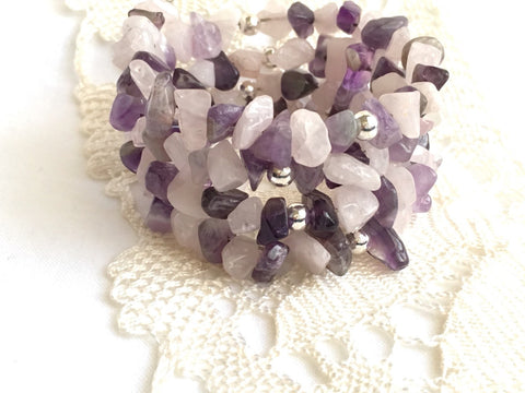 Raw Amethyst and Rose Quartz Coil Bracelet