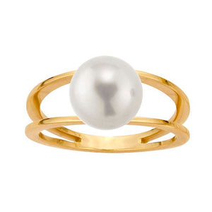 Floating Freshwater Pearl 14K Gold Ring