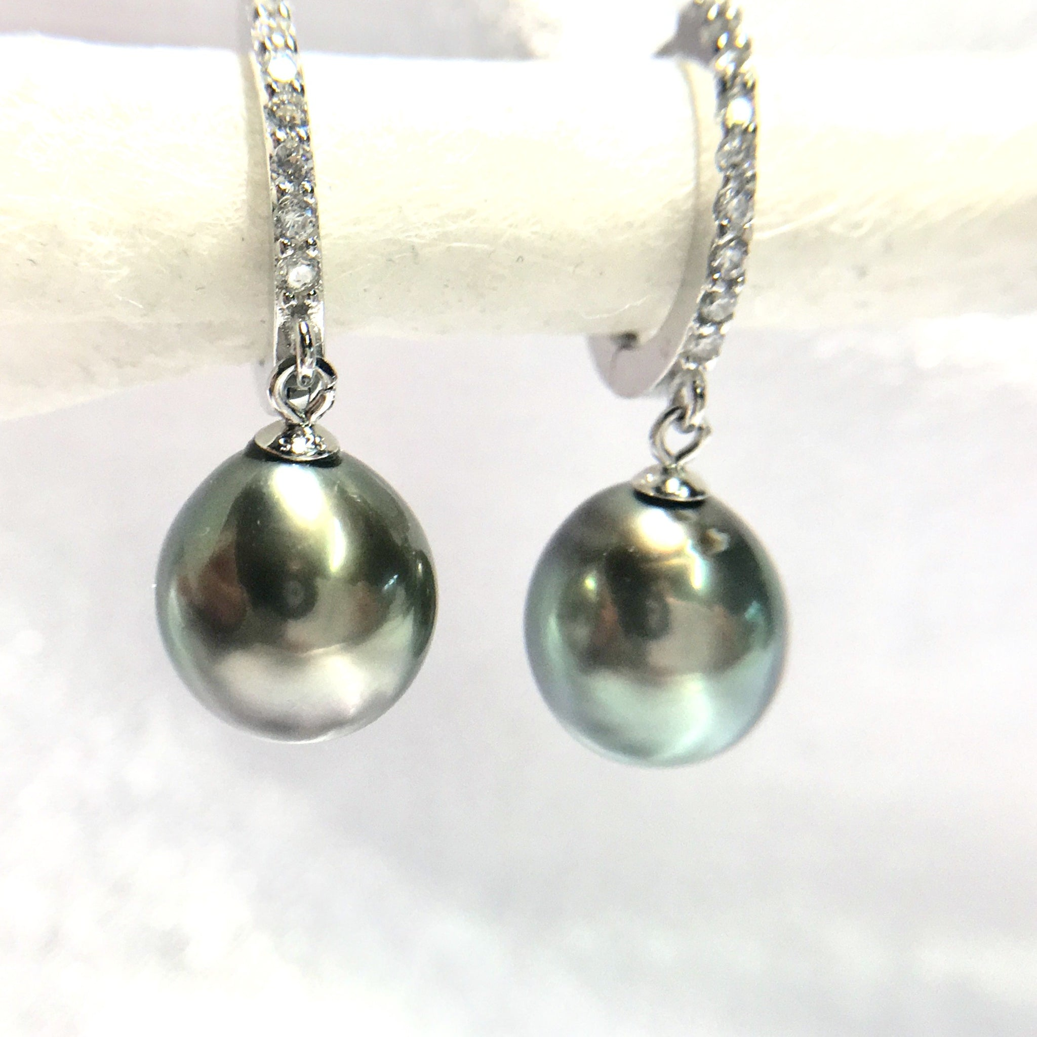 Blue Tahitian Pearl Hoops Earrings for Women