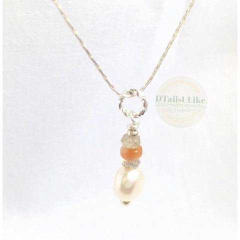 Dainty Pearl Pendant Sterling Silver Necklace