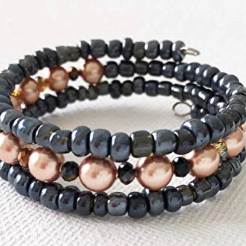 Rose Gold Beads Wrap Bracelet