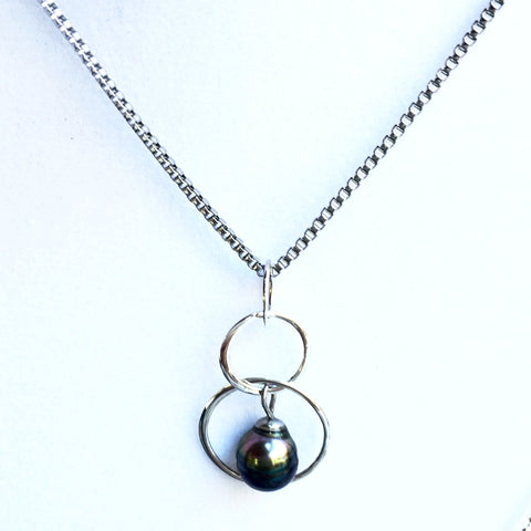 Tahitian pearl necklace contemporary pearl pendant