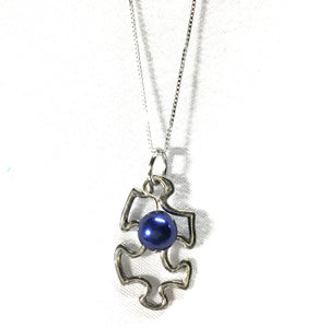 Puzzle Charm Necklace with Pearl