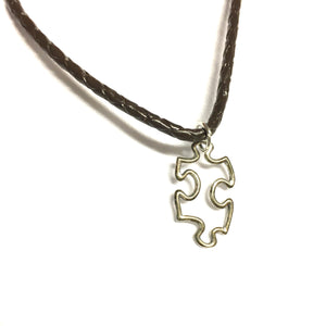 Puzzle Charm Leather Necklace