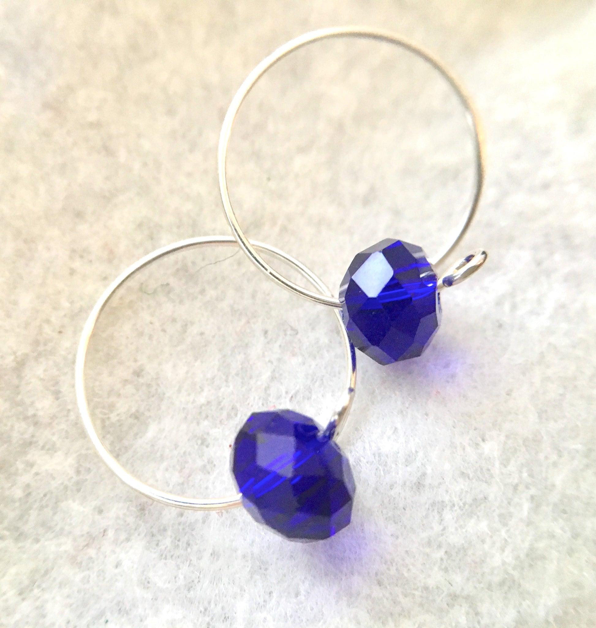 Blue Sterling Silver Hoop Earrings