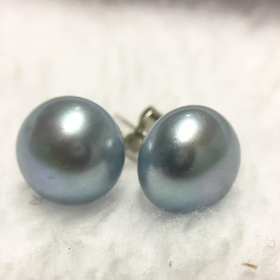 Blue Freshwater Pearl Studs Earrings
