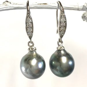 Blue Tahitian Pearl Drop Earring
