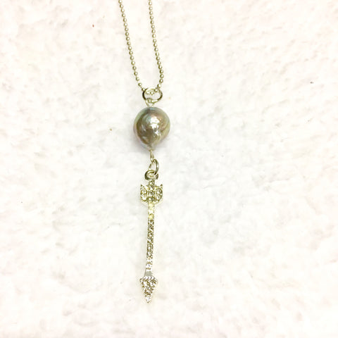 Arrow & Freshwater Pearl Sterling Silver Necklace