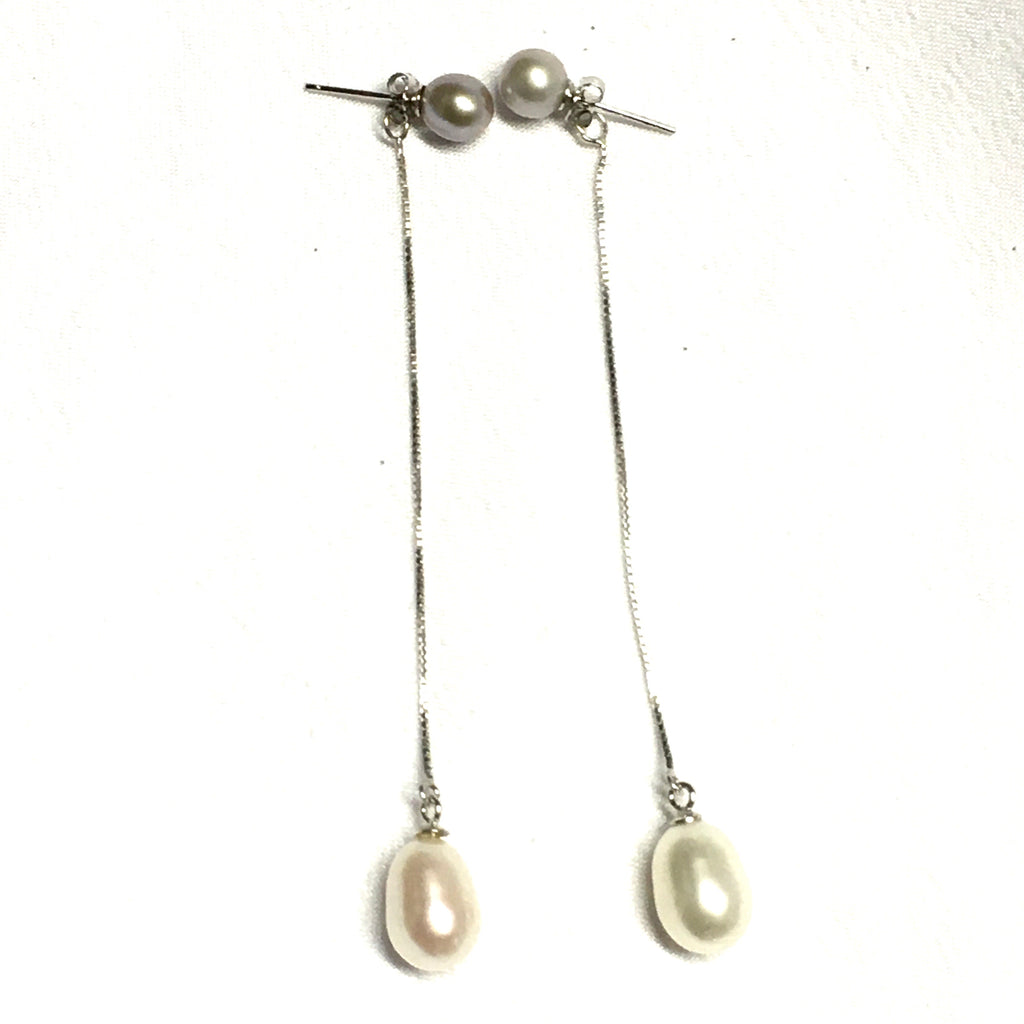 Extra Long Pearl Sterling Silver Earrings