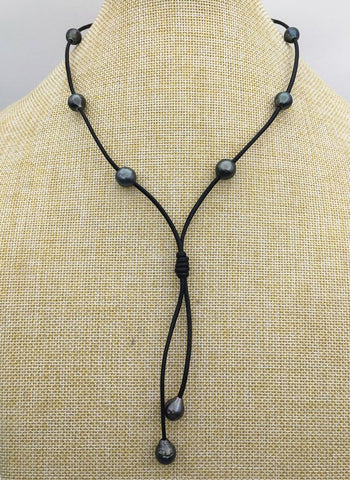 Long Pearl and leather necklace