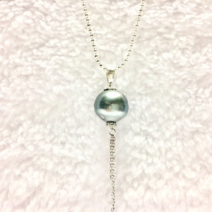 Blue Tahitian Pearl Tassel Necklace