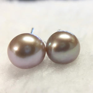 Lavender Freshwater Pearl Studs Earrings