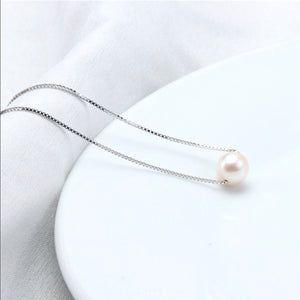 Single Pearl Floating Necklace