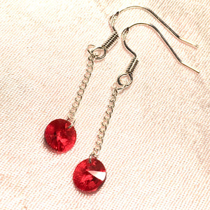 Long Red Crystal Earrings for Women