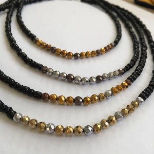 Black and Mixed Metal Beaded Necklace for Women