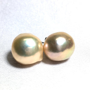 Peach Metallic Freshwater Pearl Studs Earrings