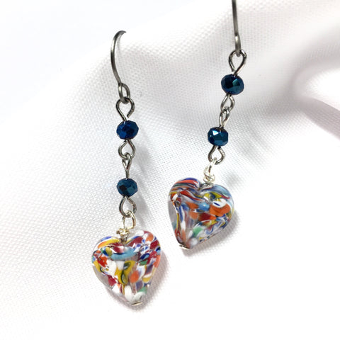 Murano Glass Titanium Earrings