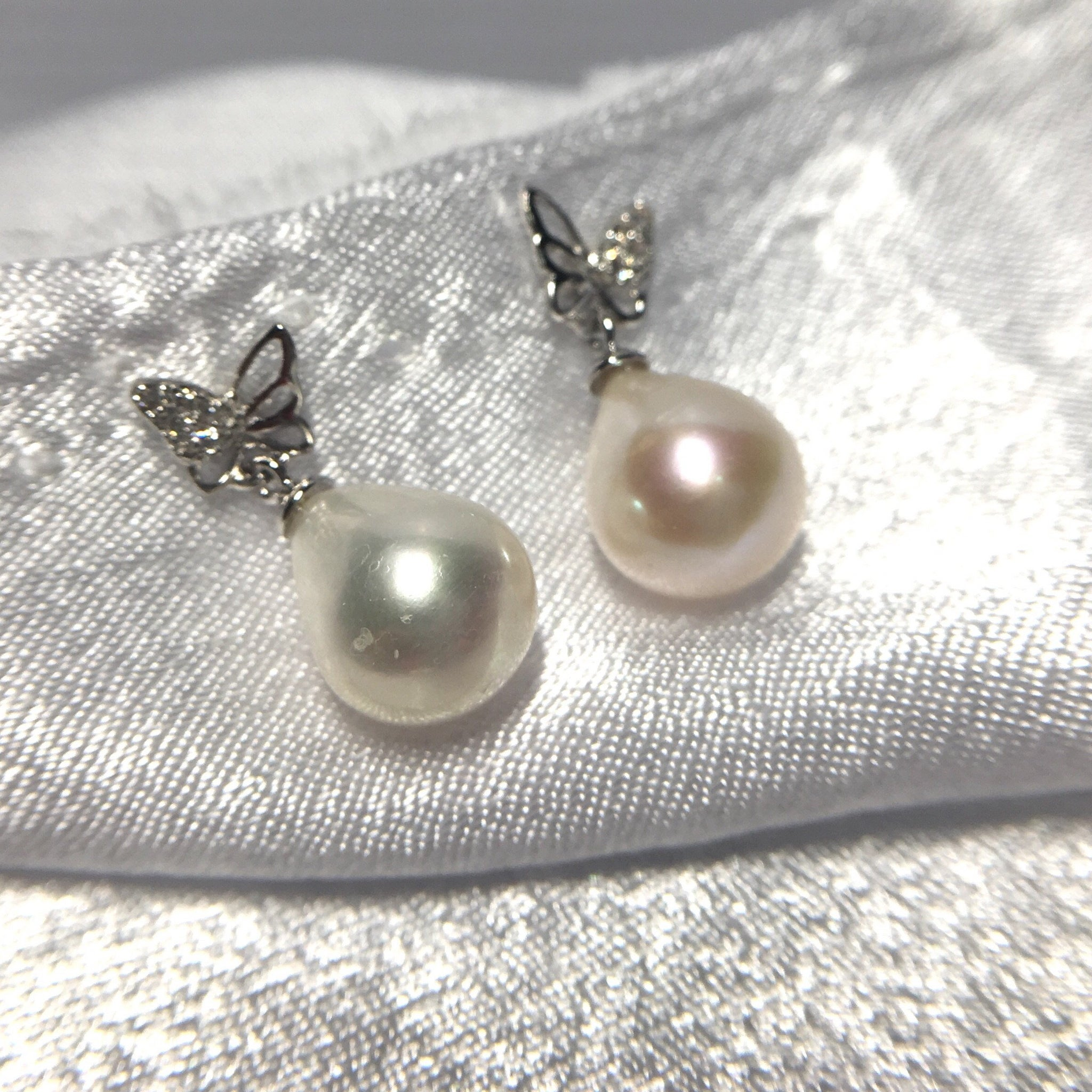 White Freshwater Pearl Butterfly Earrings