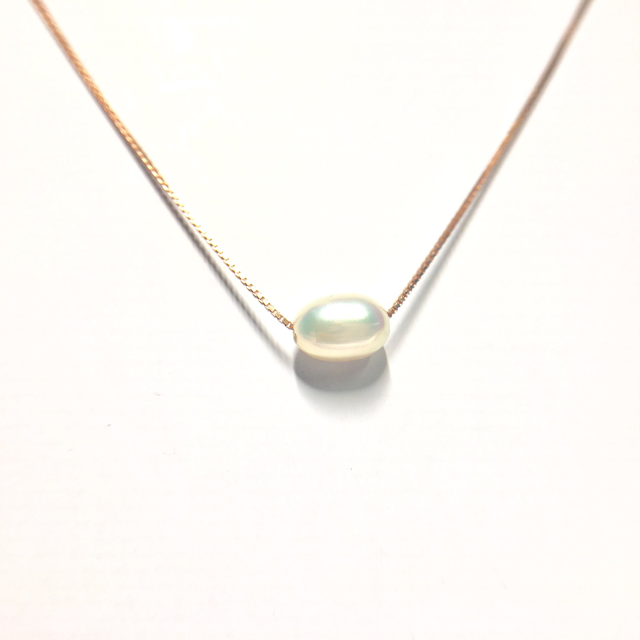 Single Pearl 14kt Rose Gold Necklace