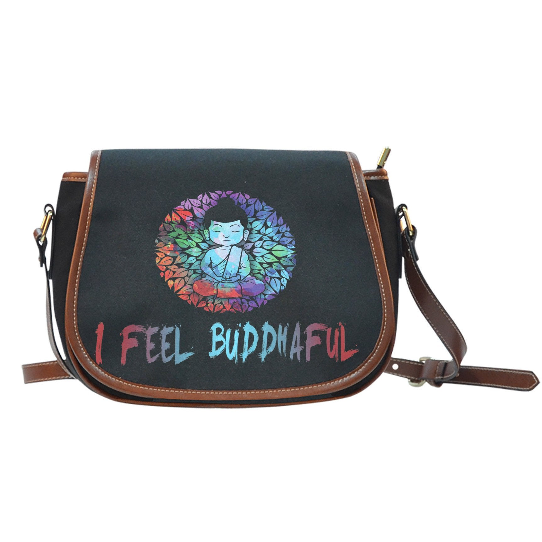 I Feel Buddhaful Monk Black Canvas Saddle Bag - Lyghtt