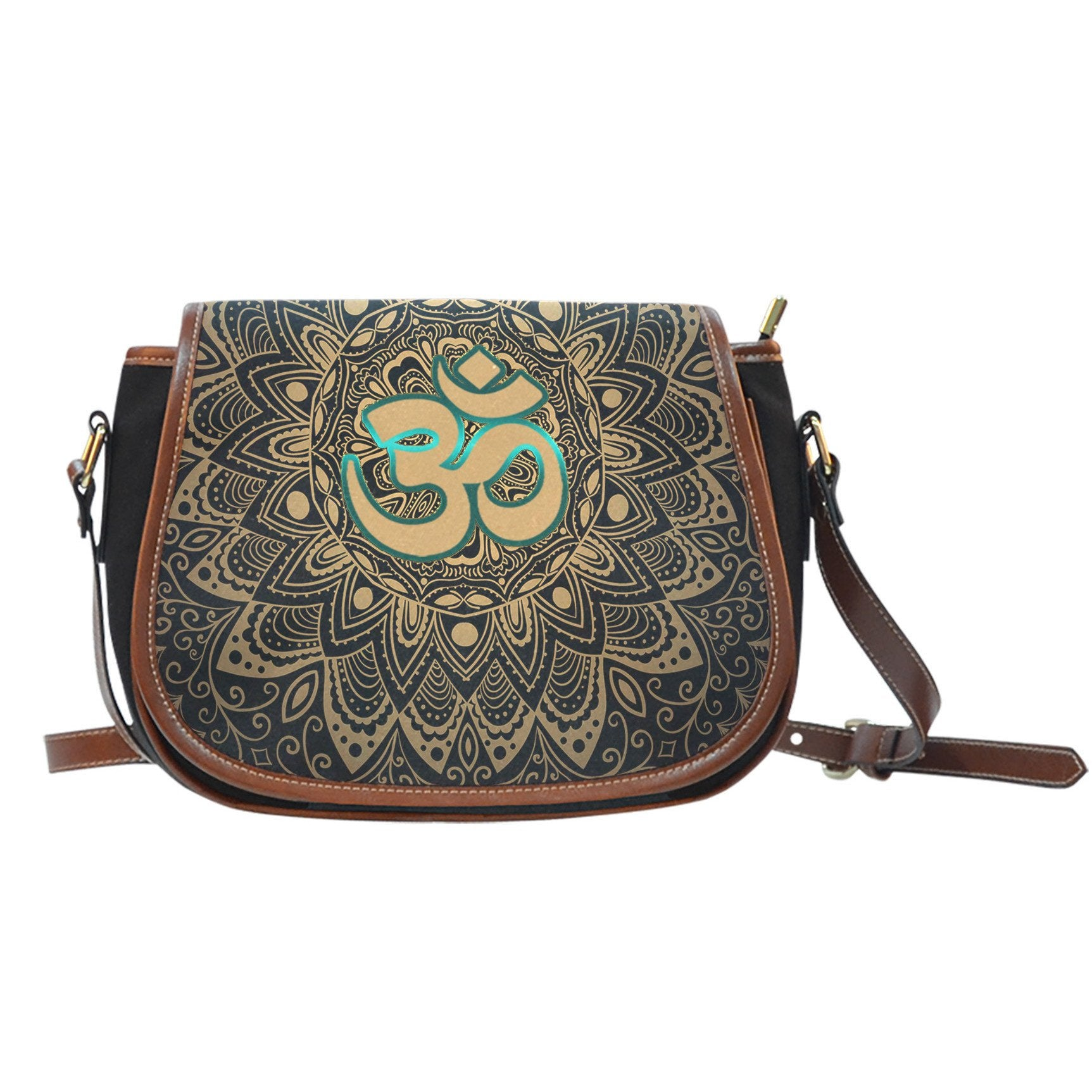 Golden Om Symbol Canvas Saddle Bag