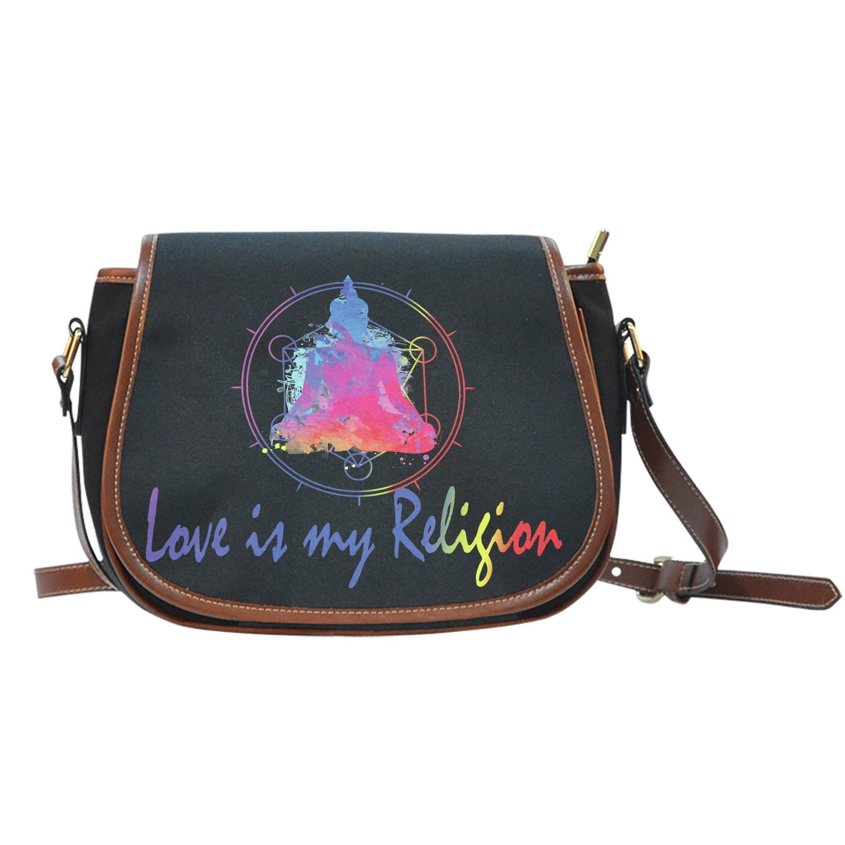 Zen Love is My Religion Black Saddle Bag - Lyghtt