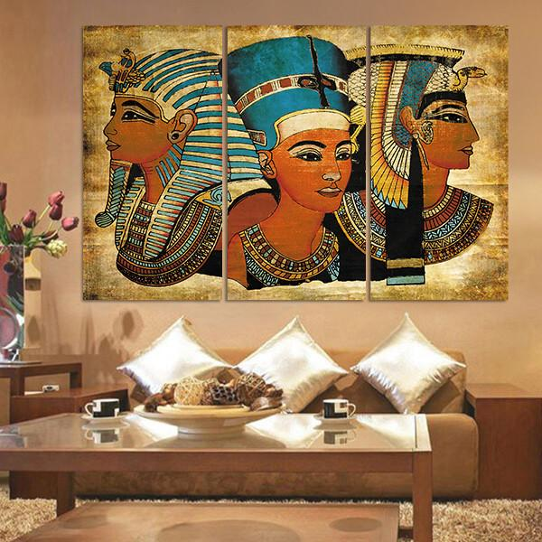 3 Pieces Pharaoh Of Ancient Egypt Wall Art Canvas For Home Decoration