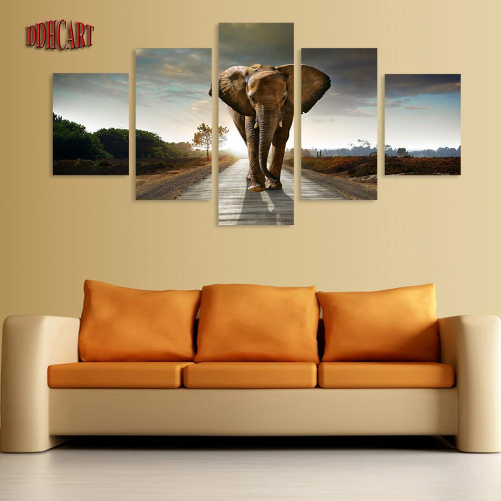 5 piece elephant painting canvas wall art picture home. Black Bedroom Furniture Sets. Home Design Ideas